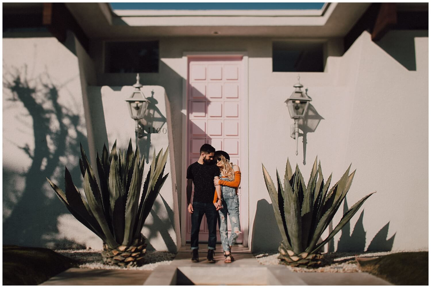 pink door palm springs engagement